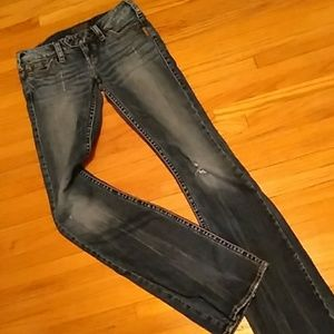 Silver blue jeans size 26/35 distressed.